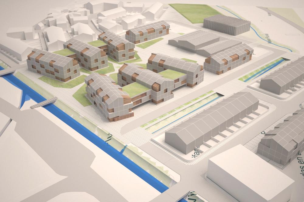 Proyecto de urbanización Morcín. Vista de la plaza central